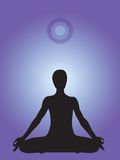 Silhouette of a person meditating in yoga lotus position. That collect energy from the cosmos stock illustration