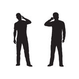 Silhouette of the person with phone. Stock Photos