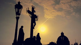 Silhouette of a Person on Prague Charles Bridge stock video