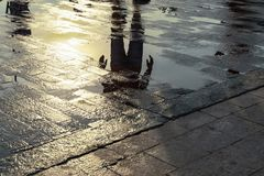 Silhouette of a person reflecting in a puddle after the rain. Silhouette of a person reflecting in a puddle after the rain stock image