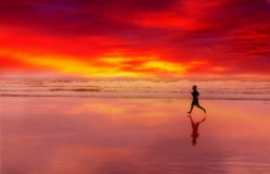 Silhouette of the person running on a sunse. T on an ocean coast Royalty Free Stock Photos