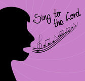 The silhouette of the person singing and the words Sing to the Lord Stock Photography