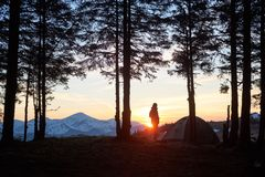 Man camping in the mountains Royalty Free Stock Photography