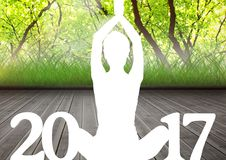 Silhouette of person in yoga pose forming 2017 new year sign 3D. Silhouette of person sitting in yoga pose forming 2017 new year sign 3D Stock Photography