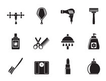 Silhouette Personal care and cosmetics  icons Stock Photo