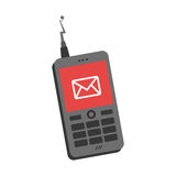 Silhouette personal communication device icon with send message Royalty Free Stock Images