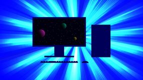 Silhouette of a personal computer against a background of a bright flash of light. On the monitor is a picture of the cosmos. Vector image Royalty Free Stock Photo