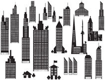 Silhouette of perspective city buildings Stock Photo