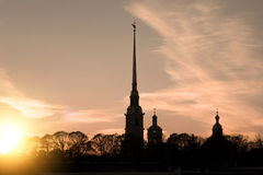 Silhouette of the Peter and Paul Fortress Stock Photography
