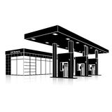 Silhouette petrol station with a small shop and reflection Royalty Free Stock Photo