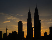 Silhouette of Petronas Twin Towers during Sunset Royalty Free Stock Photos