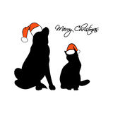 Silhouette Pets Christmas vector. The silhouette of a cat and dog in the Santa hat. The inscription merry Christmas on a white background. Vector illustration Stock Image
