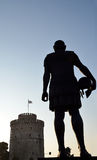 Silhouette of Philip II of Macedon and White Tower Stock Photo