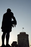 Silhouette of Philip II of Macedon and White Tower Stock Photos