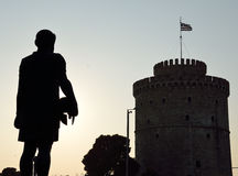 Silhouette of Philip II of Macedon and White Tower Royalty Free Stock Photography
