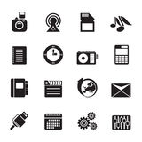 Silhouette Phone Performance, Business and Office Icons Stock Photo
