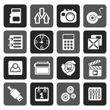 Silhouette phone  performance, internet and office icons. Vector icon set