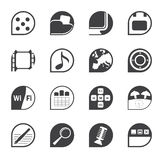 Silhouette Phone Performance, Internet and Office Icons Stock Image