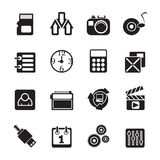 Silhouette phone  performance, internet and office icons Stock Photos