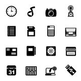 Silhouette Phone Performance, Internet and Office Icons Royalty Free Stock Image