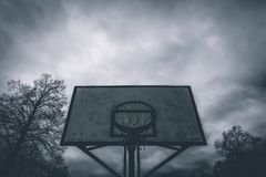 Silhouette Photo of Basketball Hoop royalty free stock images