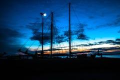 Silhouette Photo of Black Sailing Ship Stock Photos