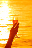 Silhouette photo of female hand holding a glass of champagne at Royalty Free Stock Image