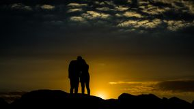 Silhouette Photo of Man and Woman Royalty Free Stock Image