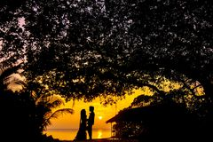 Silhouette Photo of Man and Woman during Sunset Stock Photos