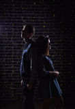 Silhouette photo of teen couple Royalty Free Stock Image