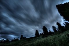 Silhouette Photo of Trees Under Gray Clouds Royalty Free Stock Photography