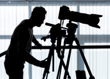 Silhouette of photographer and cameraman Royalty Free Stock Images
