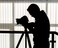 Silhouette of photographer and cameraman Royalty Free Stock Image