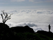 Silhouette photographer with group of clouds. And fogs in background at the top of Phu Tub Berg, Phetchabun province, Thailand Stock Photo