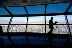 Silhouette of Photographer at the Observation Deck, Stratosphere Royalty Free Stock Images