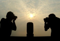 Silhouette of a photographer. Sunset Royalty Free Stock Photo