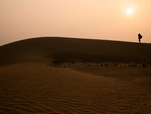 Silhouette photographer at Thar Desert in sunset time. Jaisalmer, Rajasthan State, India Royalty Free Stock Photography