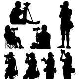 Silhouette of photographer vector Stock Photos