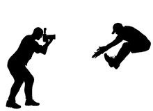 Silhouette photographer Stock Images