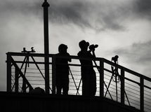 Silhouette of Photographers royalty free stock image