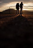 Silhouette of photographers in sunset Royalty Free Stock Image