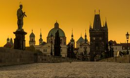 Silhouette photography of Charles Bridge during yellow morning t. Ime, Prague,,Czech Republic Stock Image