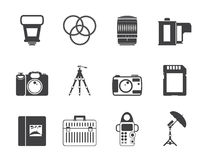 Silhouette Photography equipment icons Royalty Free Stock Photography