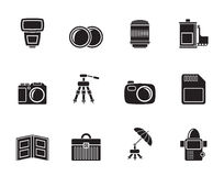 Silhouette Photography equipment icons Royalty Free Stock Photos