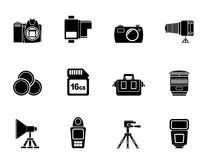 Silhouette Photography equipment and tools icons Stock Photo