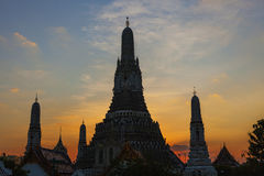 Silhouette photography sunset sky of wat arun temple most popula Royalty Free Stock Images