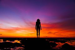 Silhouette Photography of Woman stock images