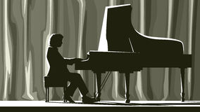 Silhouette pianist in concert hall in spotlight. Royalty Free Stock Images