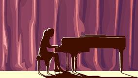 Silhouette pianist in concert hall in spotlight. Stock Photos