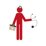 Silhouette pictogram doctor with kit firts aid Stock Image
